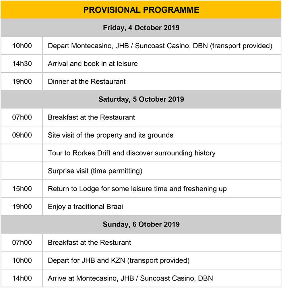 Battlefields VE Programme 4 October 2019