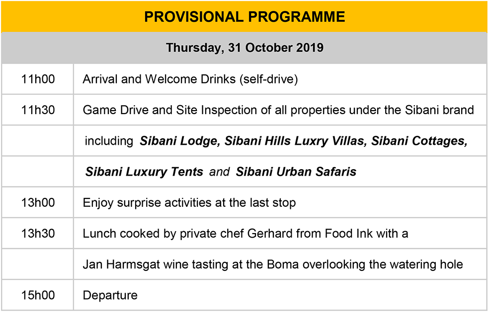 Sibani Lodge VE Programme 31 October 2019